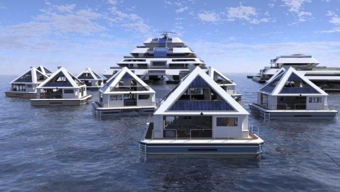 Yüzen piramitlerle denizle ve eğlenceyle iç içe bir hayat tasarlandı